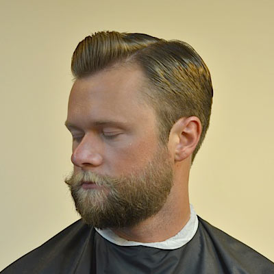 side part pomp with a beard by barber brian burt. Black Bedroom Furniture Sets. Home Design Ideas
