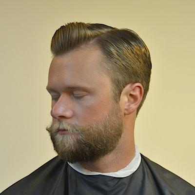 side part pomp with a beard by barber brian burt. Black Bedroom Furniture Sets. Home Design Ideas