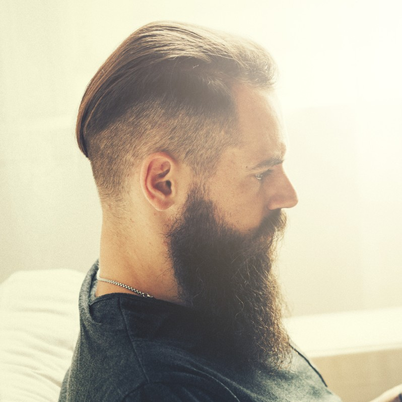 undercut hair with beard