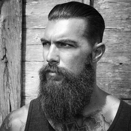 beardedvillains_davedriskell long beard slicked back hair