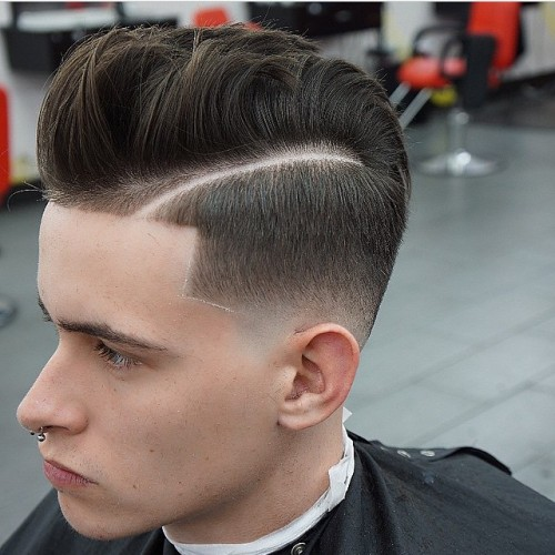 blendz_barbershop pomp quiff with hard part high fade