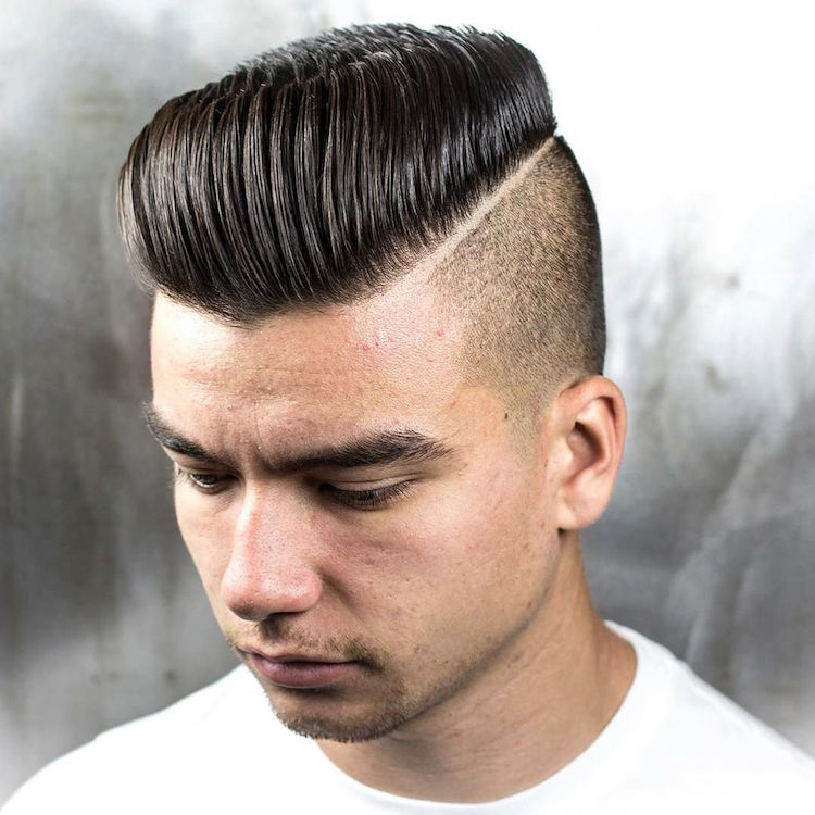 braidbarbers_and_Classic_Pomp_with_razor_side_part blow dried