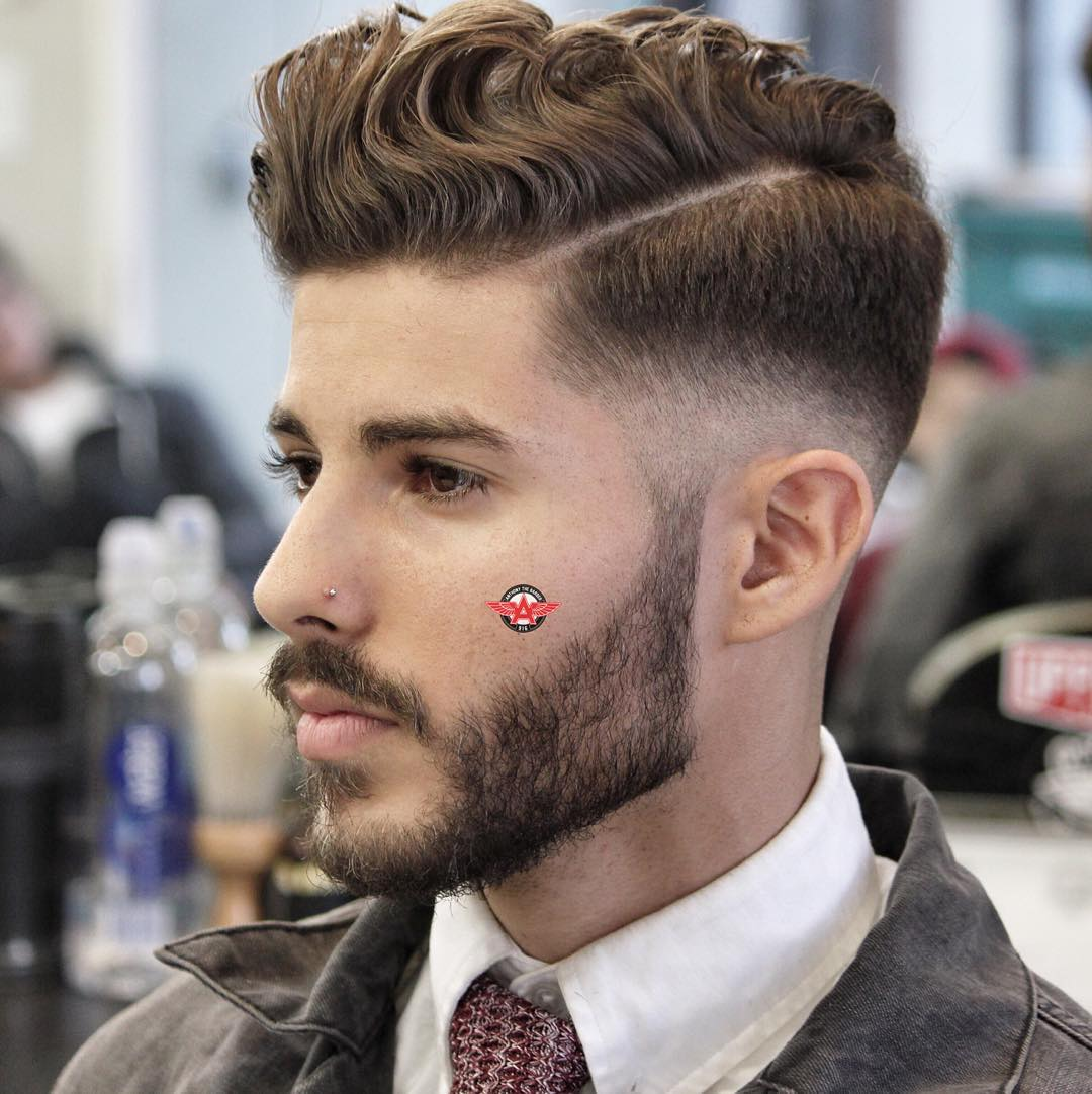 Pictures of mens hairstyles over 50 hnczcyw com - Anthonythebarber916_hard Part Wavy Pomadour