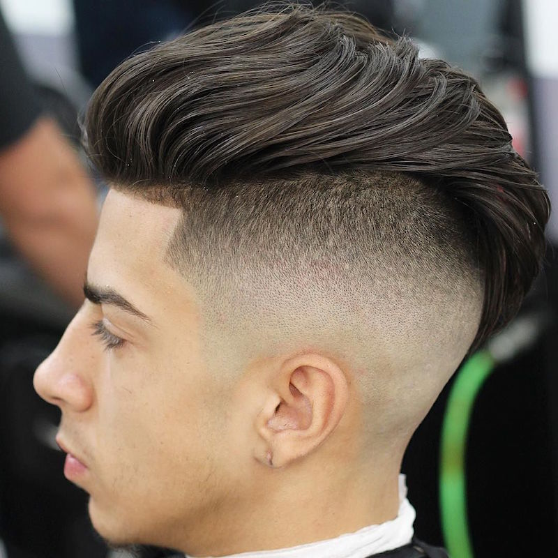 Bald Fade With Long Natural Curls On Top