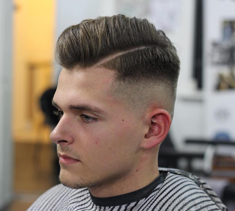 kieronthebarber_and blow dry natural look hard part high fade pomadour