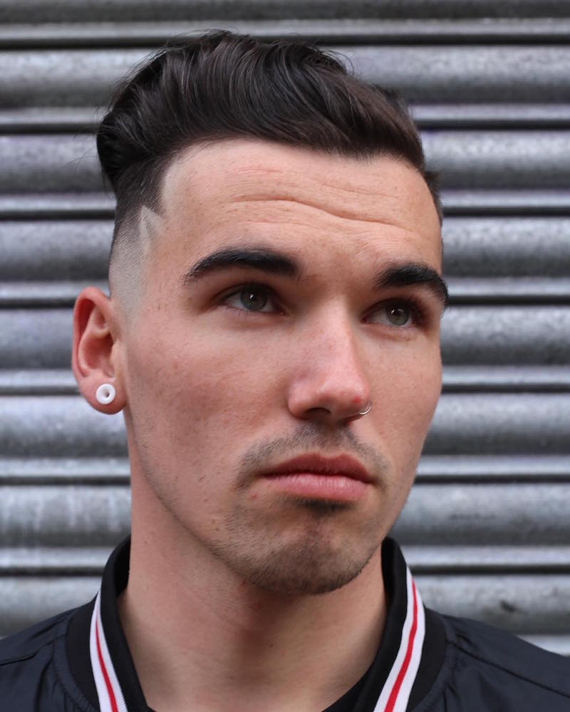 skin fade hair design slicked undercut