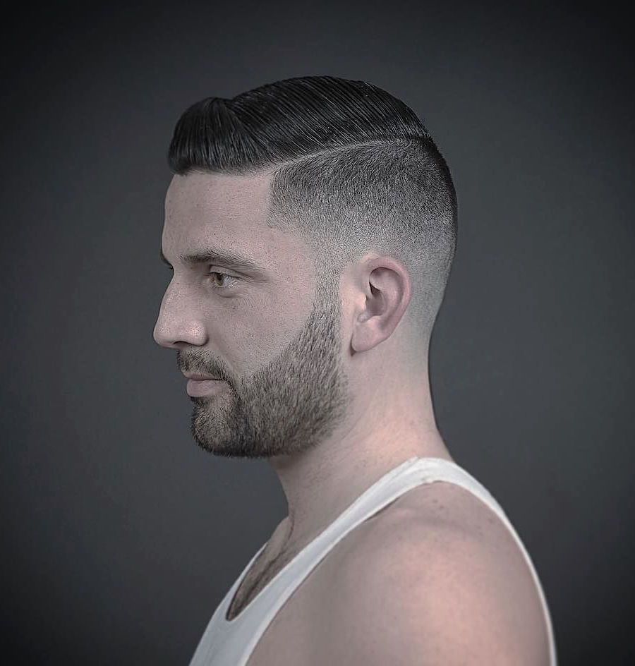 inthecut305_and short slicked combover high fade haircut