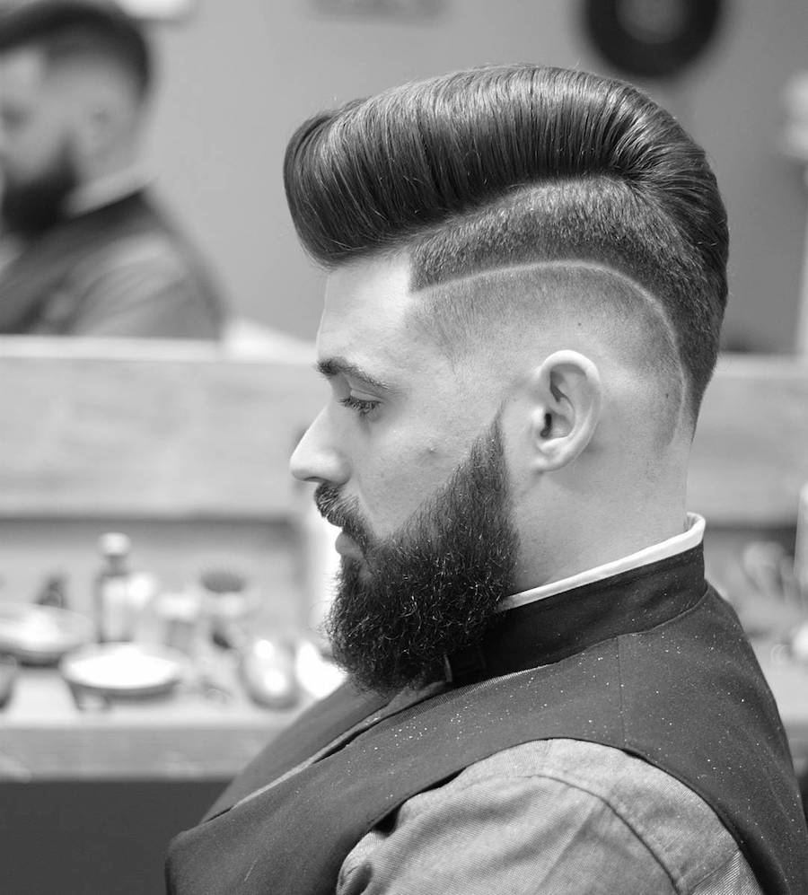 Clean hi lo fade with surgical part and pompadour hairstyle