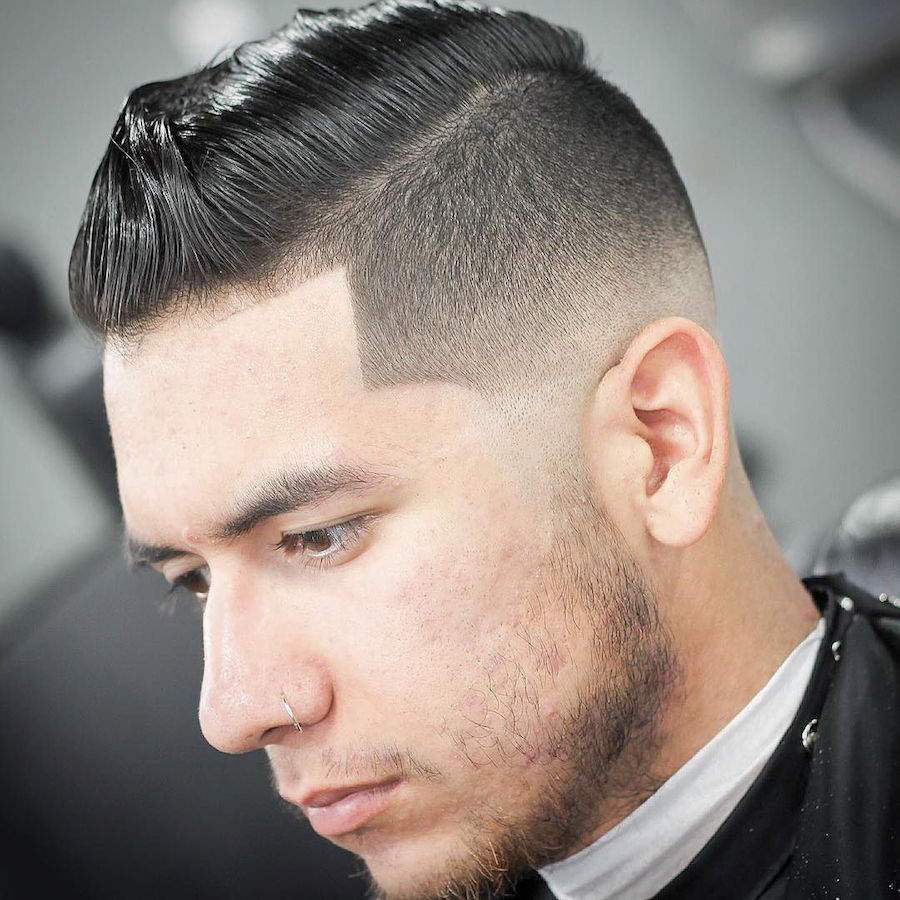 High fade and medium length pompadour hairstyle