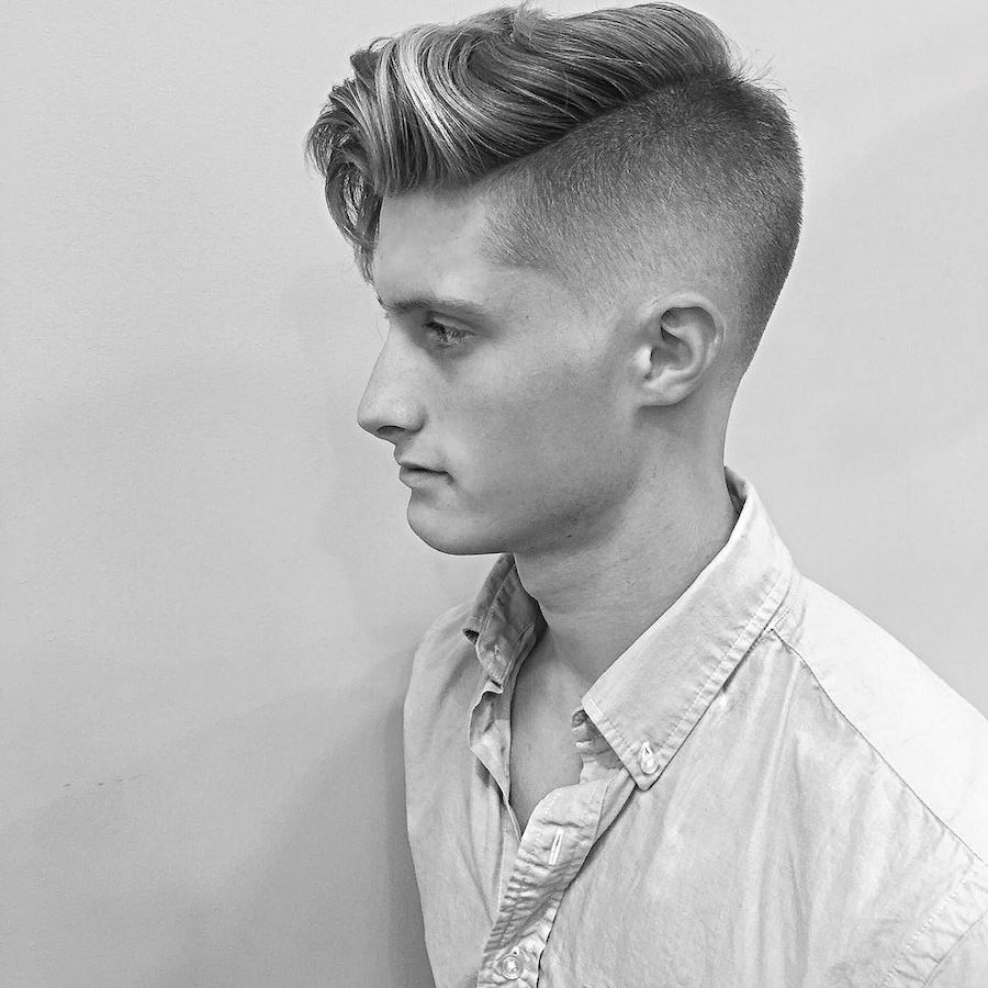 High fade and long fringe with medium length hair on top