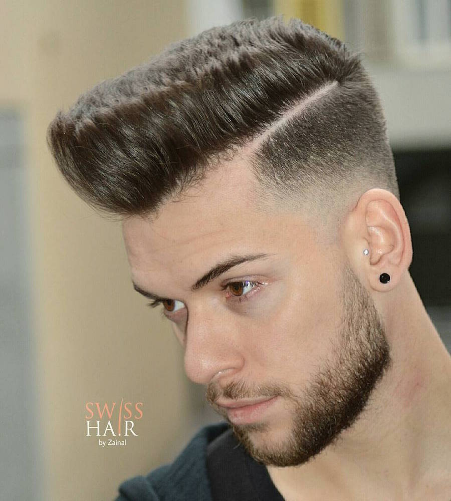 swisshairbyzainal_and hard part high fade pompadour
