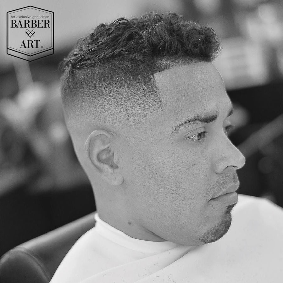 zeke_the_barber_and bald fade with a curly top mens haircut