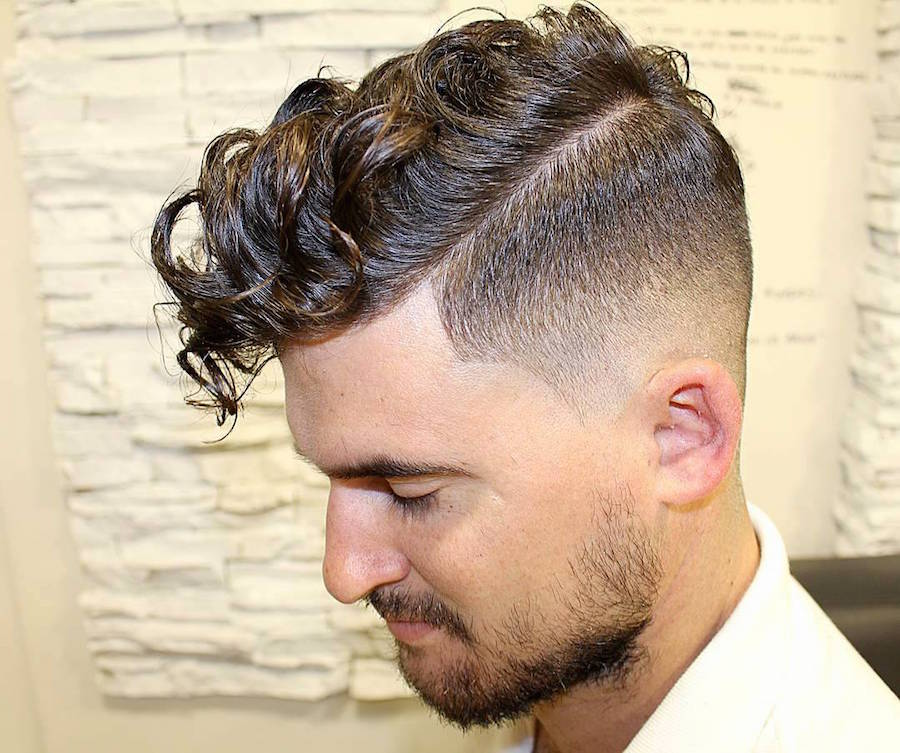 agusbarber__and long curly fringe high fade mens haircut
