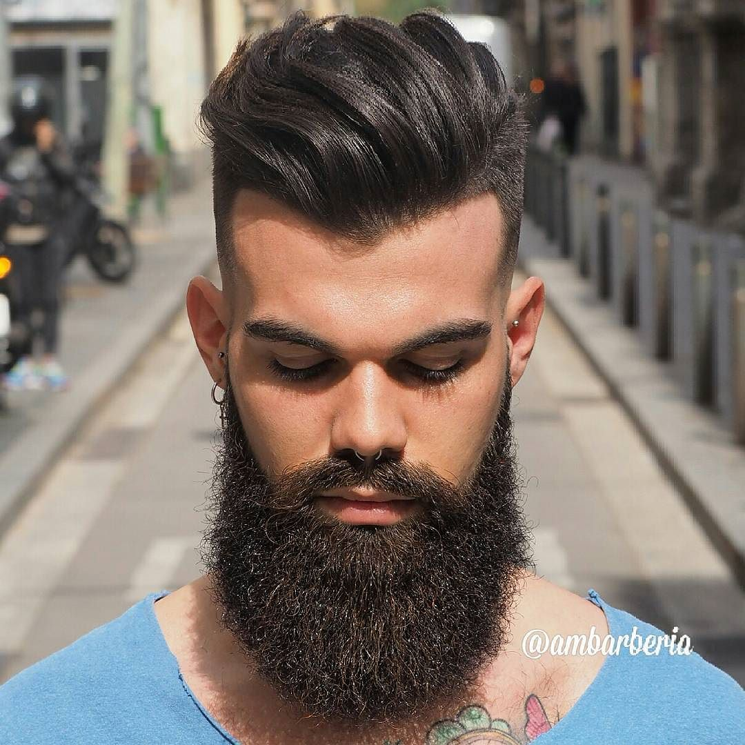 6. Long Slick Back + Skin Fade + Full Beard