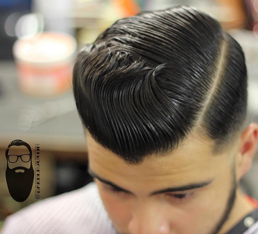 barberjustin_and cool slicked back haircut hairstyle for men