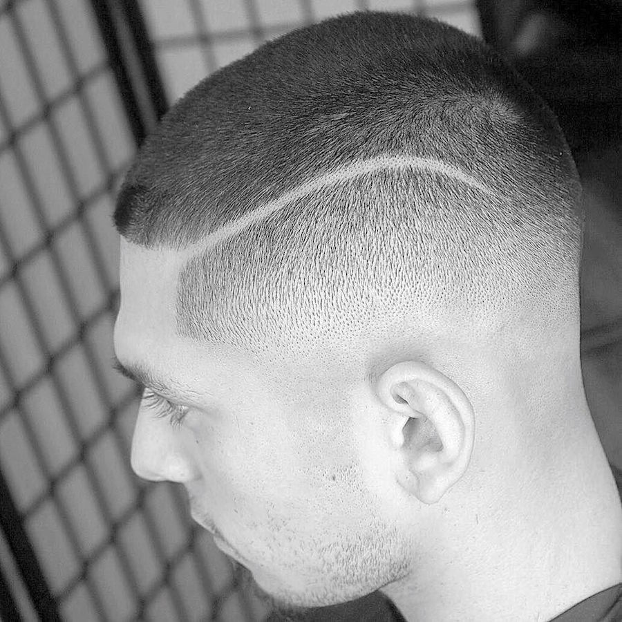 dtownpresident3.0_and fade with had part and short hair mens haircut