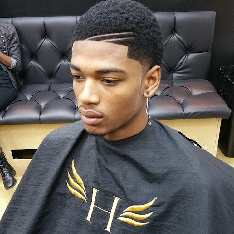 hawkthebarberprodigy_double hard part hairstyle for black men