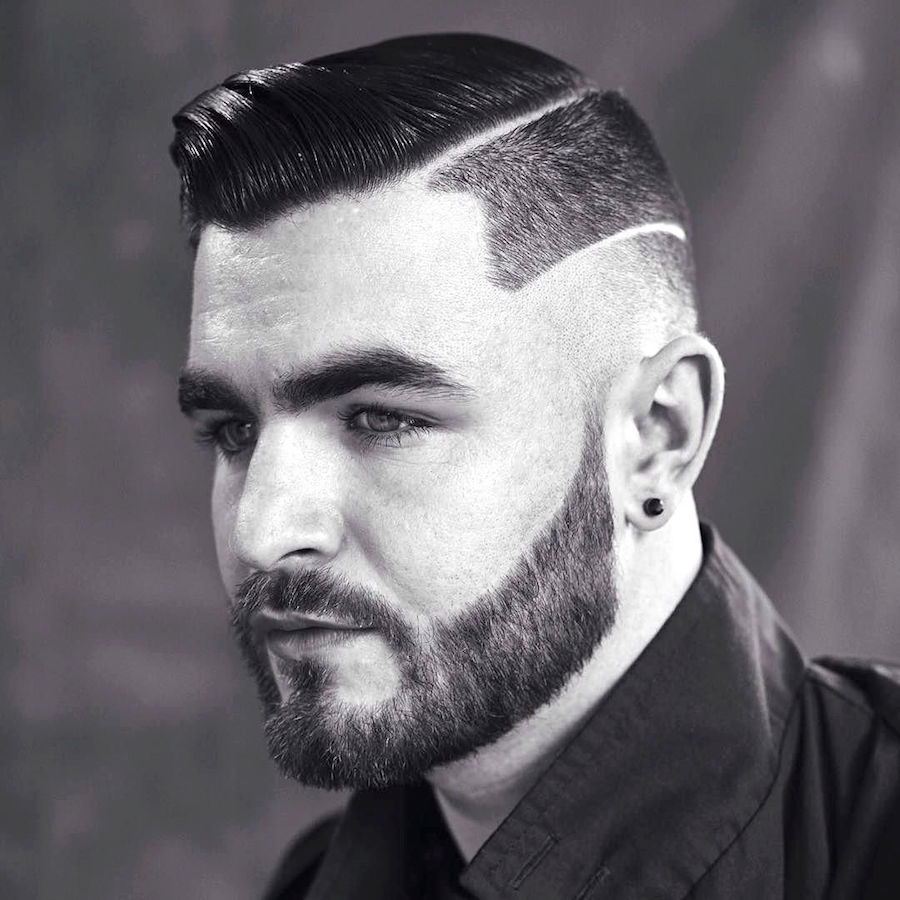 londonschoolofbarbering_and slick combover hard part and side surgical part