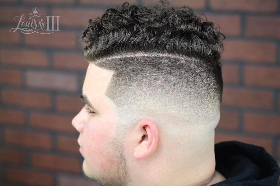 21 new mens hairstyles for curly hair louistheiiiand high fade hard part and curls urmus Choice Image
