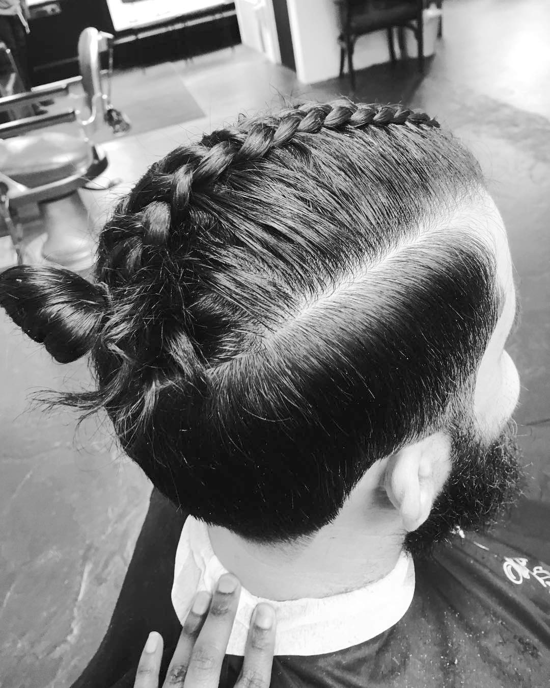 Man bun mens hairstyle for long hair