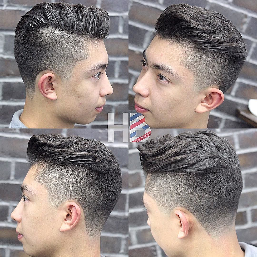 Side pompadour hairstyle