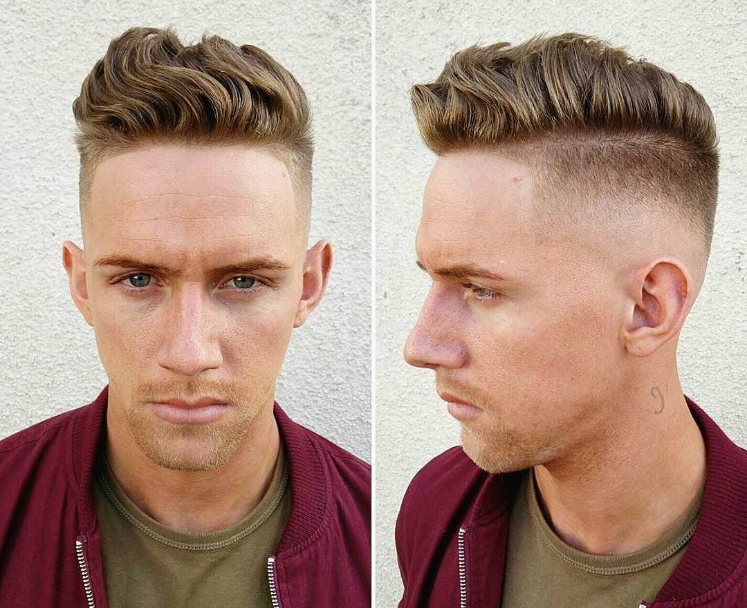 Wavy hair bald fade haircut