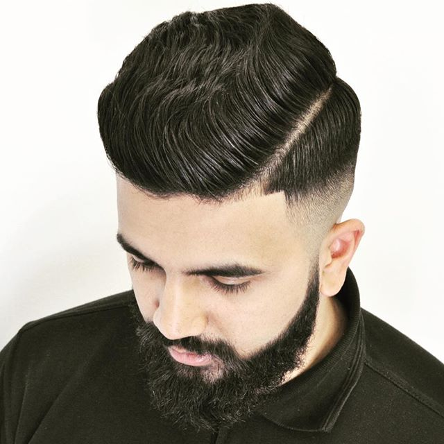 justmikethatsme Thick wavy hair men combover side part-edge-up