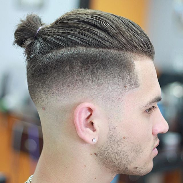 Hairstyles Man Bun : 41. Long Hair + Man Bun + Taper Fade Guy?s Haircut