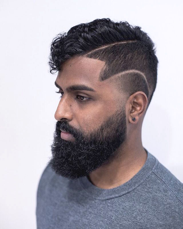 hairsoda Curly Hair Side Part Hairstyles with Double Fade