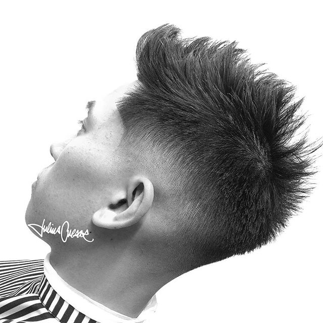 julisucaesar spiky hair with low fade styled wth Layrite Natural Matte Cream.