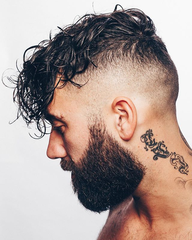nomadbarber undercut fade long wavy hair beard