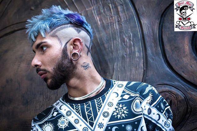 paulmacspecial Unique hair for men blue