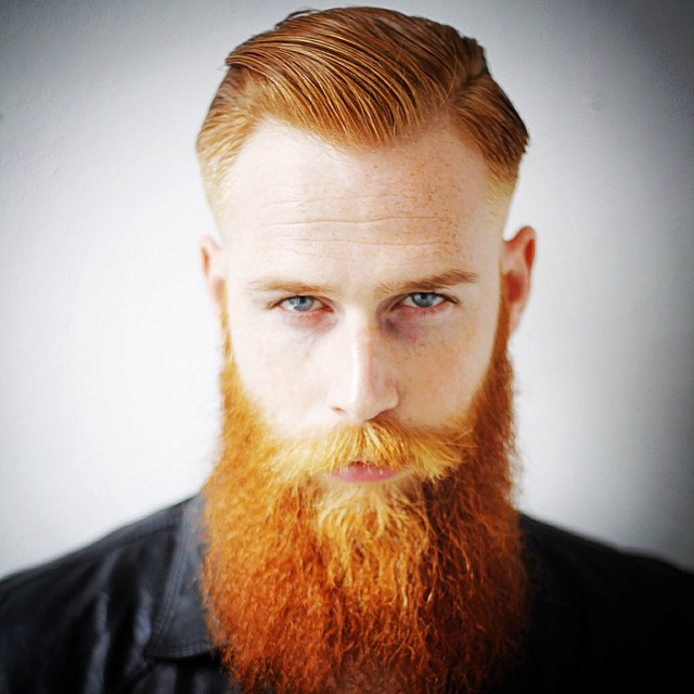 daniele_deangelishair gwilymcpugh Long Red Full Beard Side Part Hair