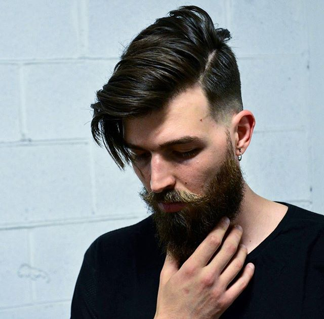 Long fringe side part hairstyle for men cool