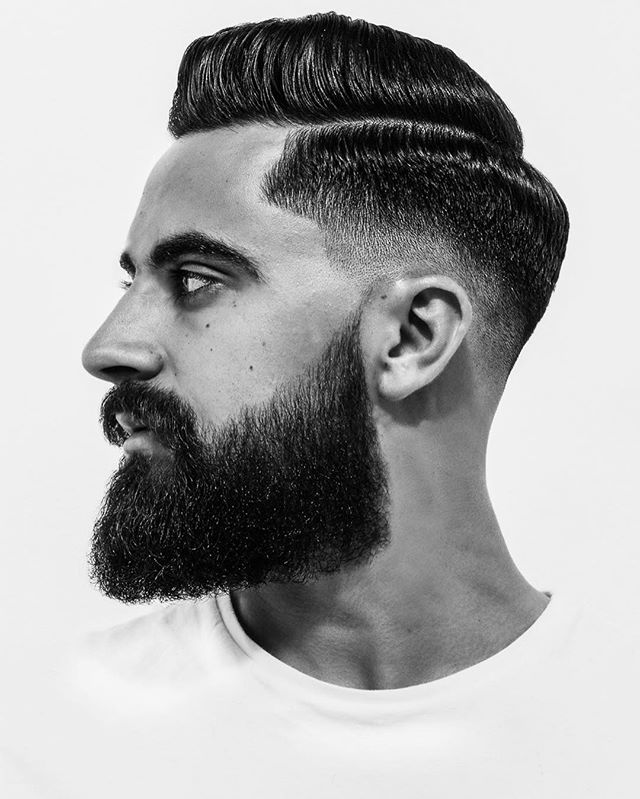 rhysgreen Slick Combover Fade with Full Beard Styes Hipster