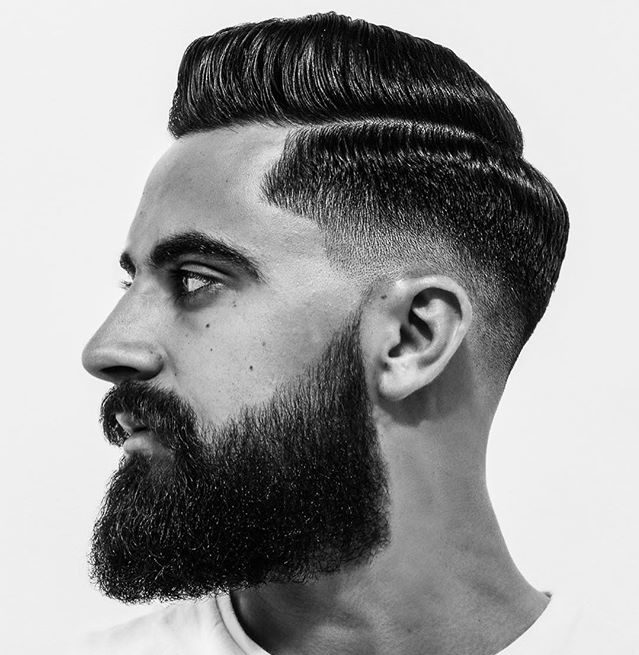 rhysgreen Slick Combover Fade with Full Beard