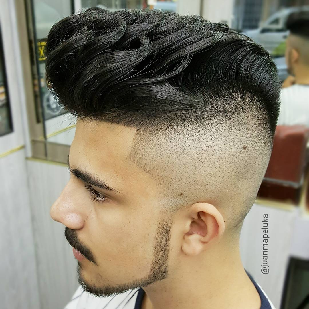 high skin fade pompadour haircut for men