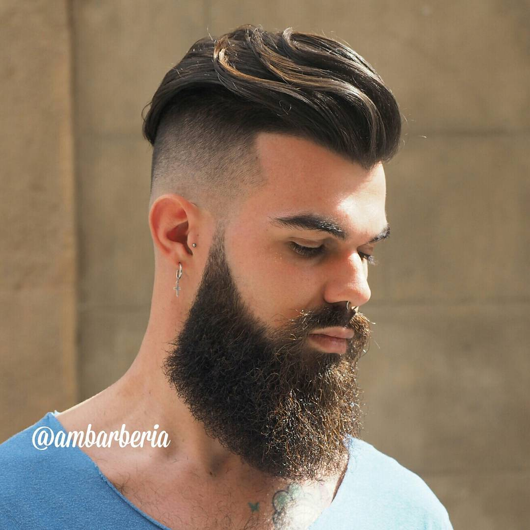 Long hair undercut with beard