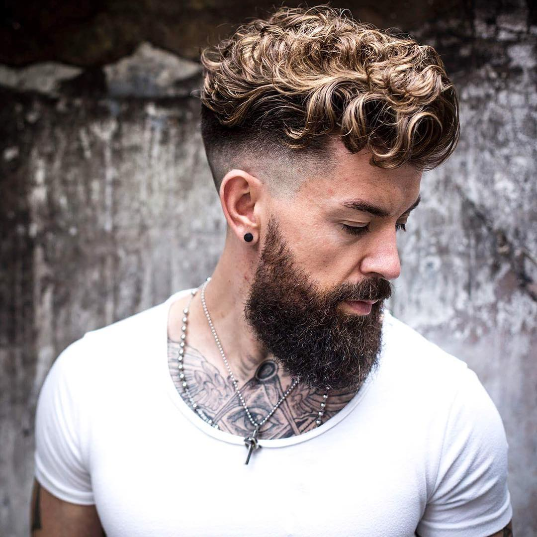 Men's undercut haircut for curly hair