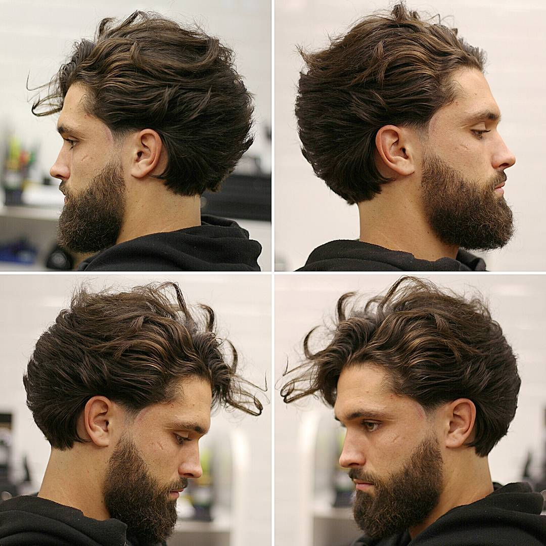 19. Long Wavy Sweep Back + Full Beard with Tapered Sideburns