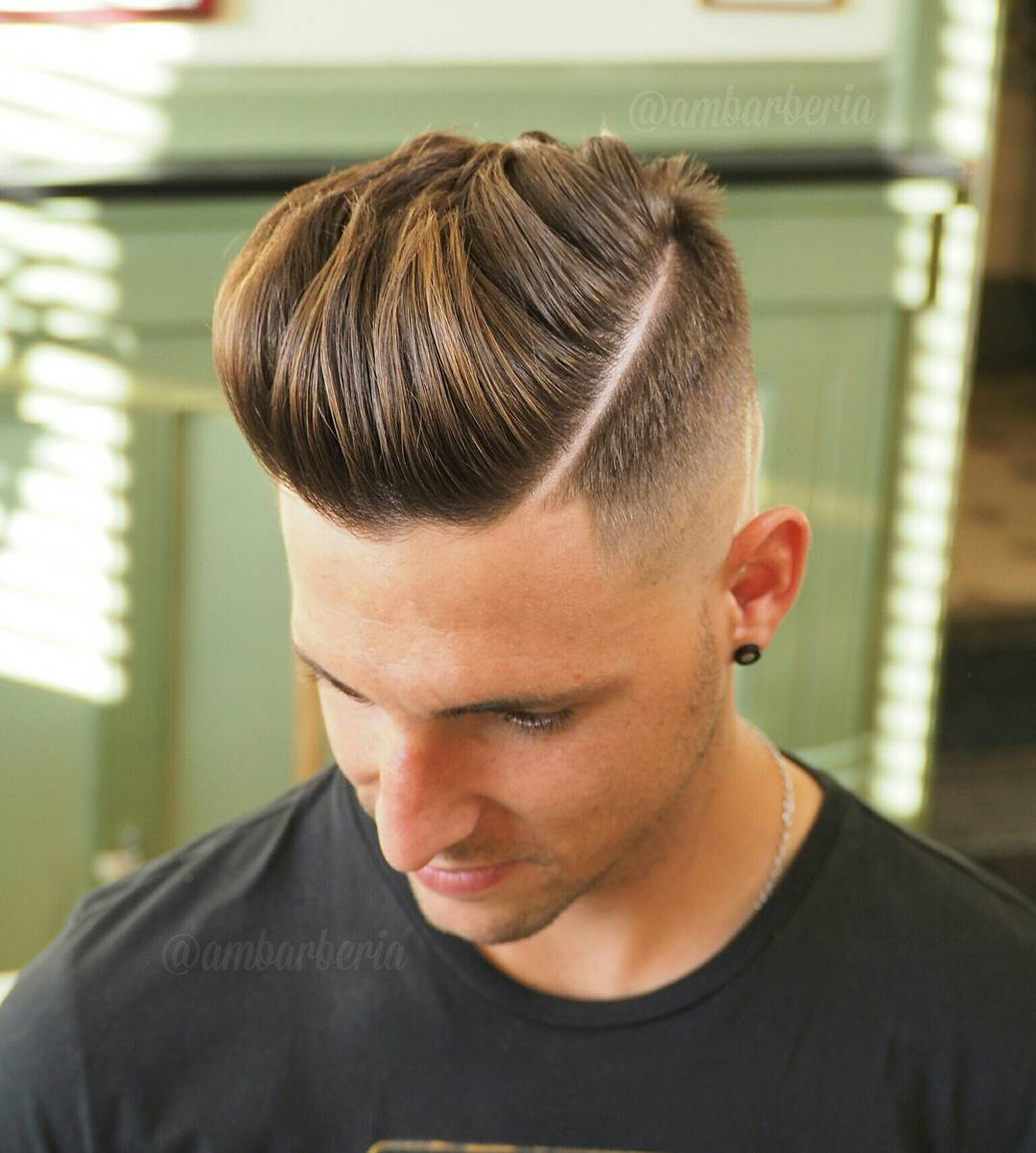 Ambarberia Pompadour Hard Part High Fade Haircut For