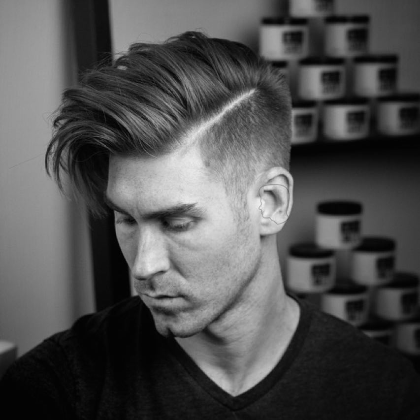 Elegant 57. Loose + Messy Side Part + High Fade