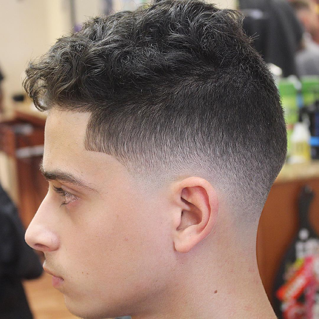 Super Clean Mid Fade + Short Curly Hair