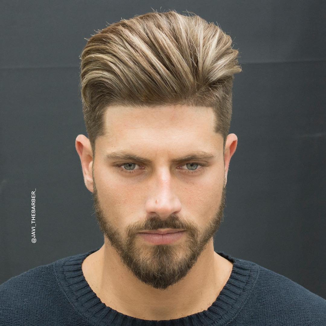 Textured Comb Over Hairstyle Men