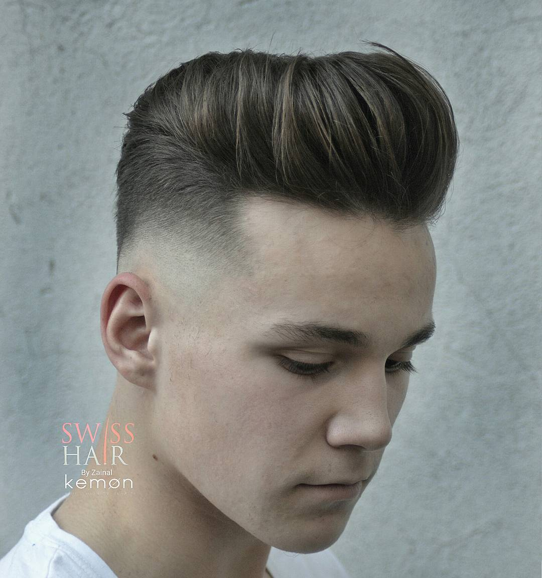 Hairstyles For Men With Thick Hair fashionable medium hairstyles for men with thick hair Thick Hair Pompadour Hairstyle Bald Fade