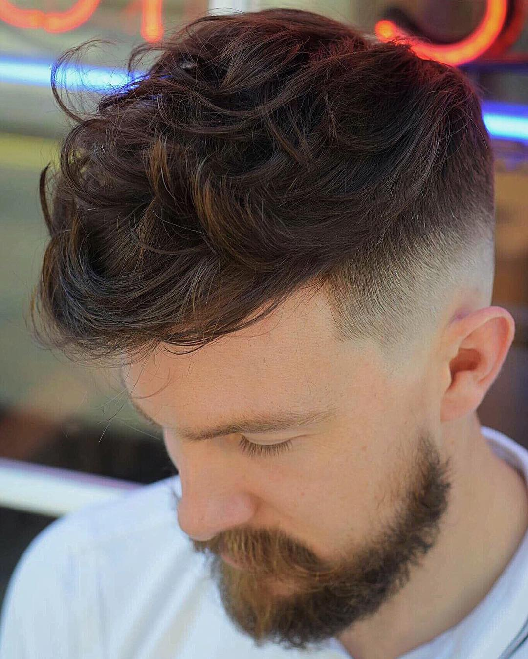 Mens Wavy Hairstyles mens curly hairstyle Wavy Fringe High Fade