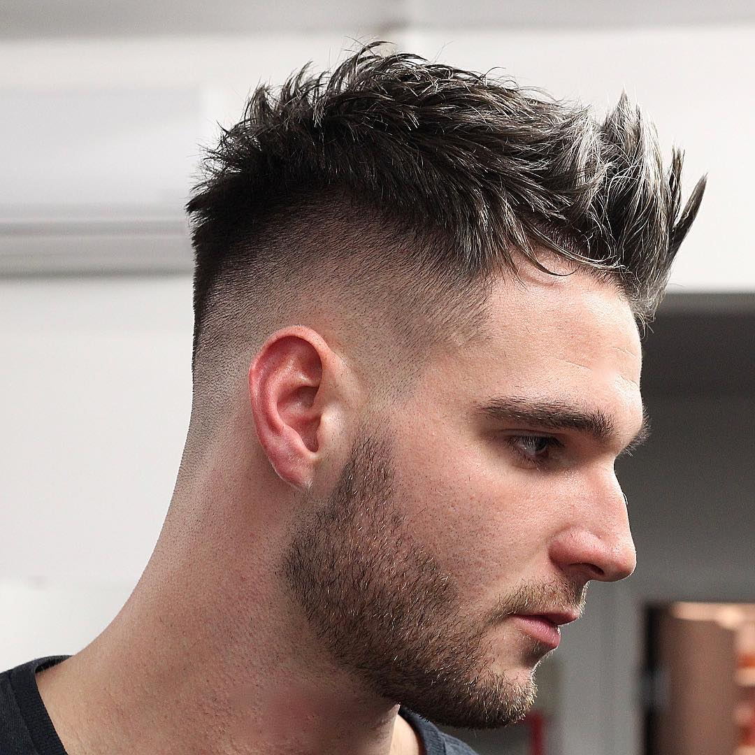 Short Spiky Quiff Hairstyle + Disconnected Beard