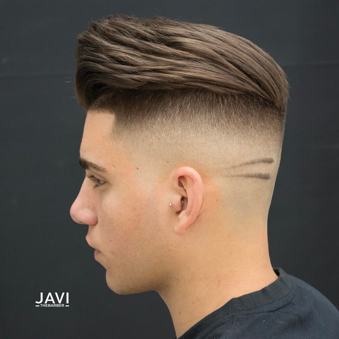 Pompadour haircut with high skin fade