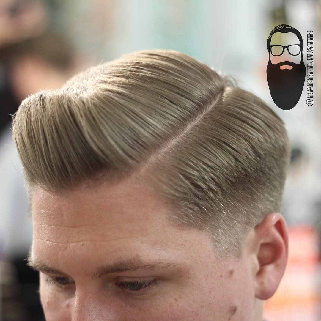barberjustin side part pompadour hairstyle for men