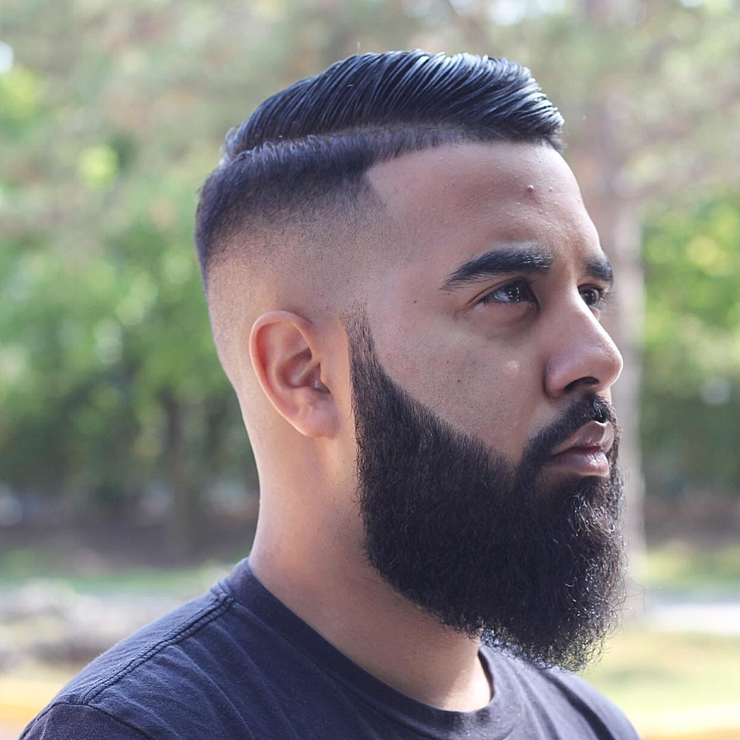 Comb over skin fade haircut